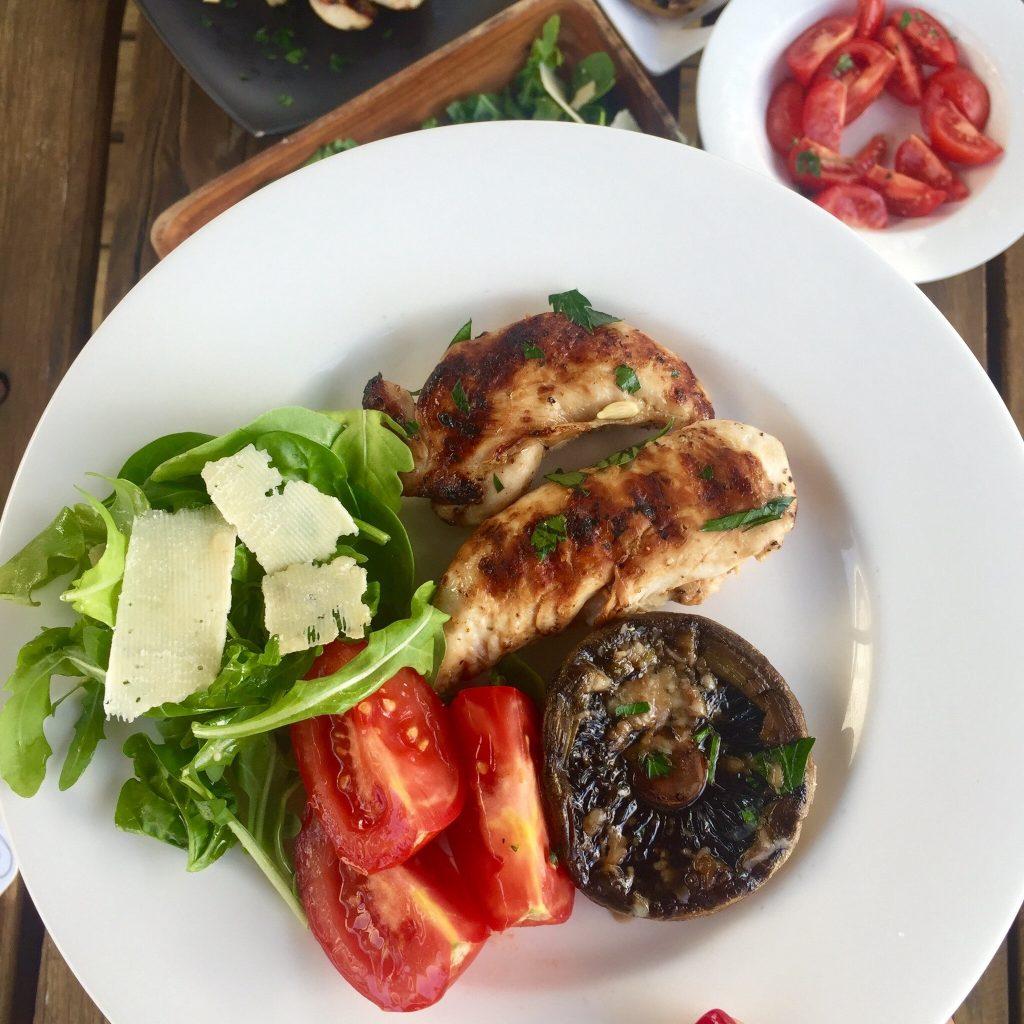 Dani Stevens healthy dinners chicken mushrooms tomato rocket salad