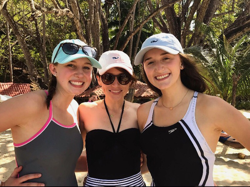 Kaleigh (right) pictured with Timothy Student Claire Miller (left) and Paola from Joshua Expeditions (center)