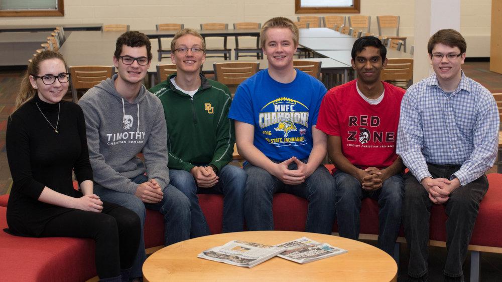 Pictured left-to-right: Grace Files, Charles Hooker, Trevor Hoogendoorn, Elijah Tornow, Josh Kalapala, and Nick Terpstra