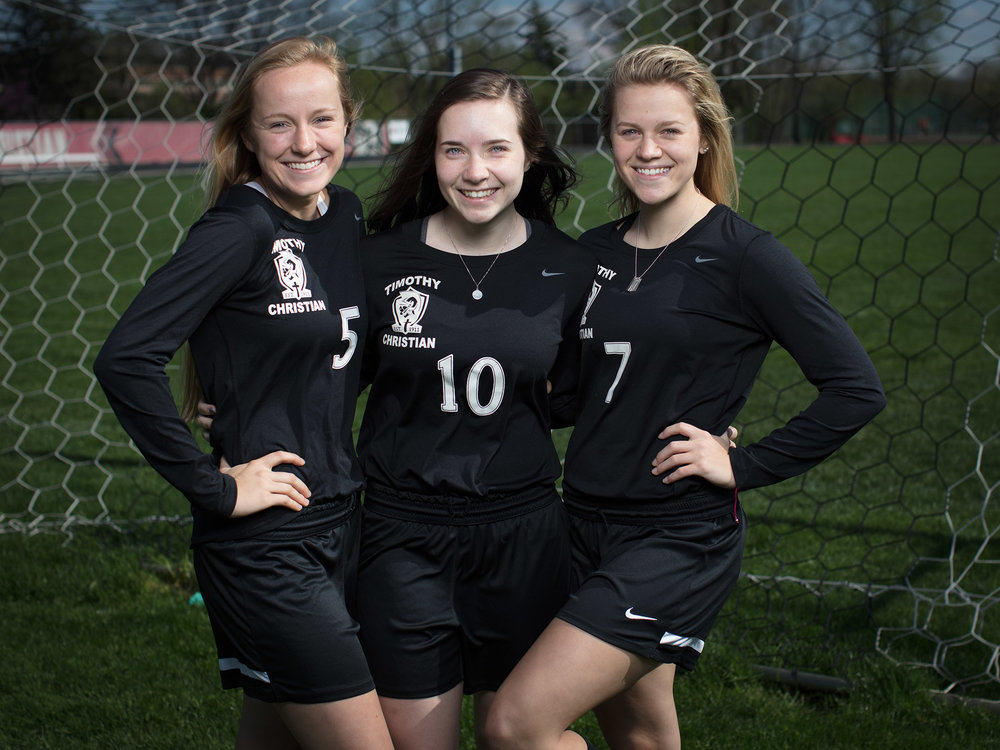 Captains Allison Zeilstra, Rachel Rink and Heather Kocol