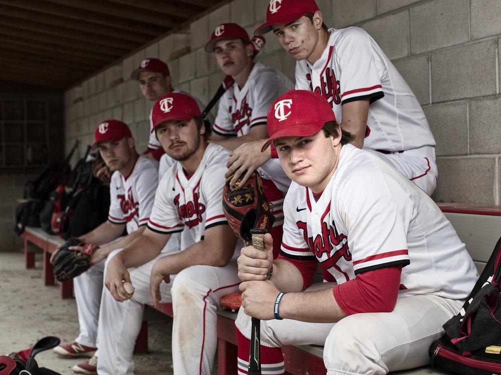 Noah Marrera and the senior baseball players.