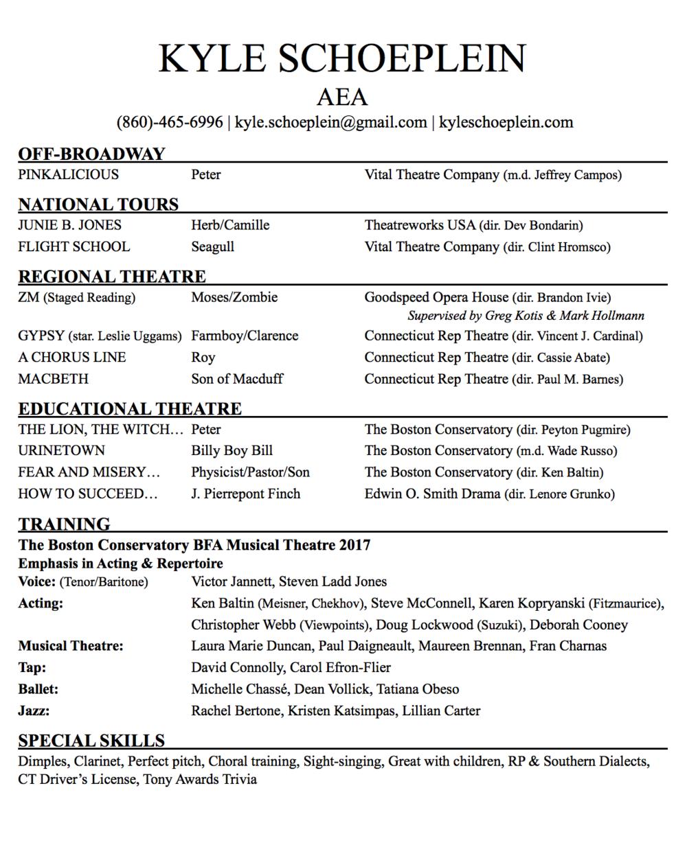 Resume — KYLE SCHOEPLEIN