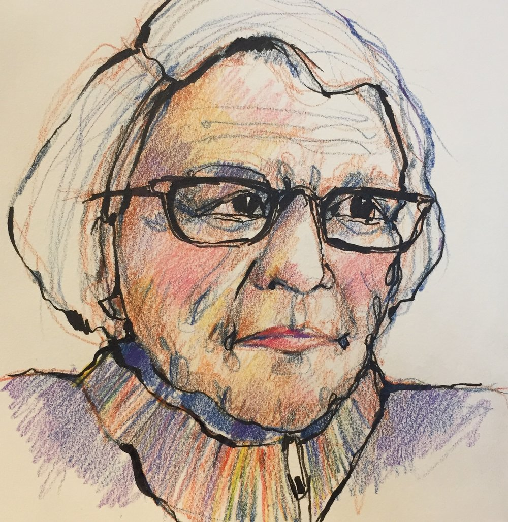 "One last evening with my 92 year old mom watching the news and that ""confounded Jeopardy"". I quickly sketched her, my pens and pencils moving over the paper capturing her image. Seemingly, the years of our classically difficult mother/daughter relationship seem to fall away as we quietly talked and I sketched. The power of art!!! #sketching #coloredpencils #ink #instadraw #instaart #portraits #drawing #sketchbook #life #mymom #92yearsold #family #stories #arttherapy #gratitude #thanksmom"