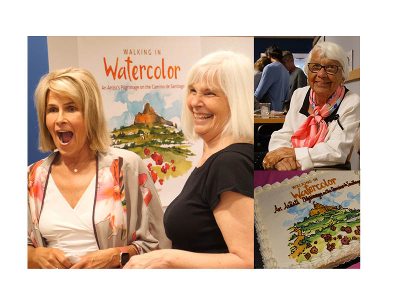 "Thank you Spinnaker Trust for a fun and festive book launch party for my book ""Walking in Watercolor"". Their offices were filled with enthusiastic and interested friends and clients who generously came to share my story and buy a book. Even my 92 year old mom, Jackie, made the trip from Arizona to attend the event. A wonderful evening with Spanish guitar music, tapas, Spanish beer and wine and the most delicious cake decorated with the cover image. Muchas Gracias Spinnaker Trust and Buen Camino!!! Jennifer Lawson with Patricia Lennon and Jackie Lawson Jlawsonart.com Pictures courtesy of Nick Bowie of No Umbrella Media."