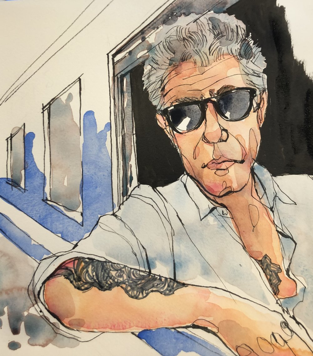 RIP Anthony Bourdain. We will miss your boundless curiosity and contagious enthusiasm. Safe travels to parts unknown.    #anthonybourdain #ripanthonybourdain #sketch #sketchbook #sketchoftheday #portraitillustration #portrait #instaportrait #drawing #illustration #illustrator #partsunknown