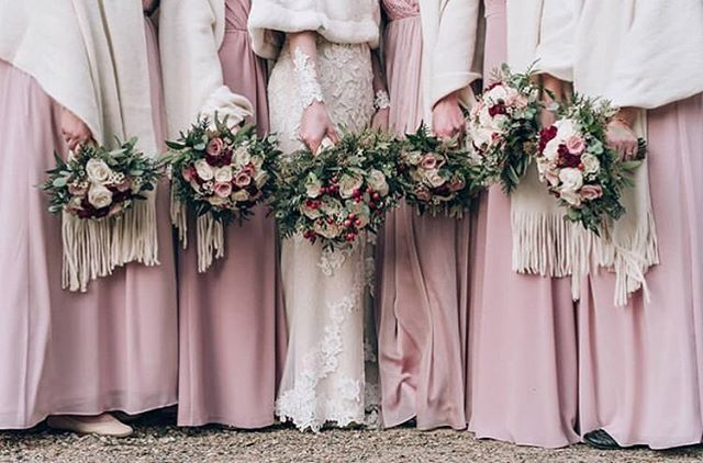 All bundled up 💕 Loving this @jasmine_bridal Bridesmaids look for a chilly winter wedding!