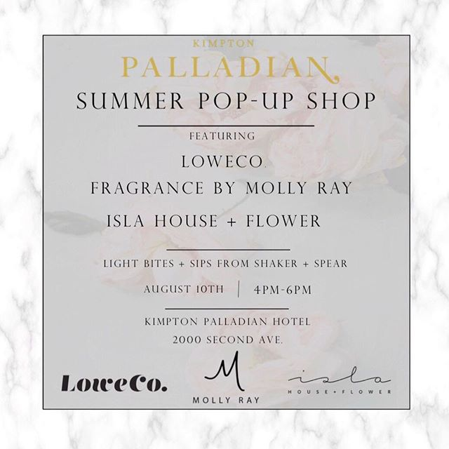 Come by the Kimpton Palladian Hotel on Thursday for a Summer Pop-Up Shop! I'll be serving up flowers and other shop goodies. 💐  4-6, see you there! ✨ #islahouseandfower #summerpopup #summerinseattle