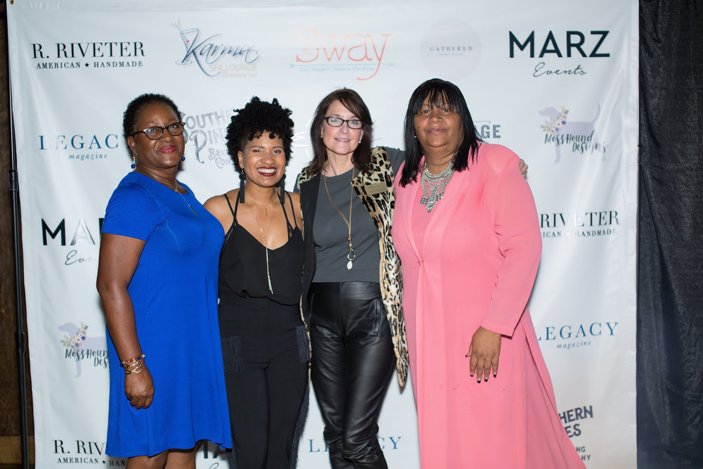 Left to Right: Linda Pearson (Executive Director of United Way of Moore County), Brittany McNeal (owner of MARZ Events), Anne Friesen (Executive Director of Friend to Friend), Pennie McNeil (Services Coordinator and Manager of Butterfly Boutique).