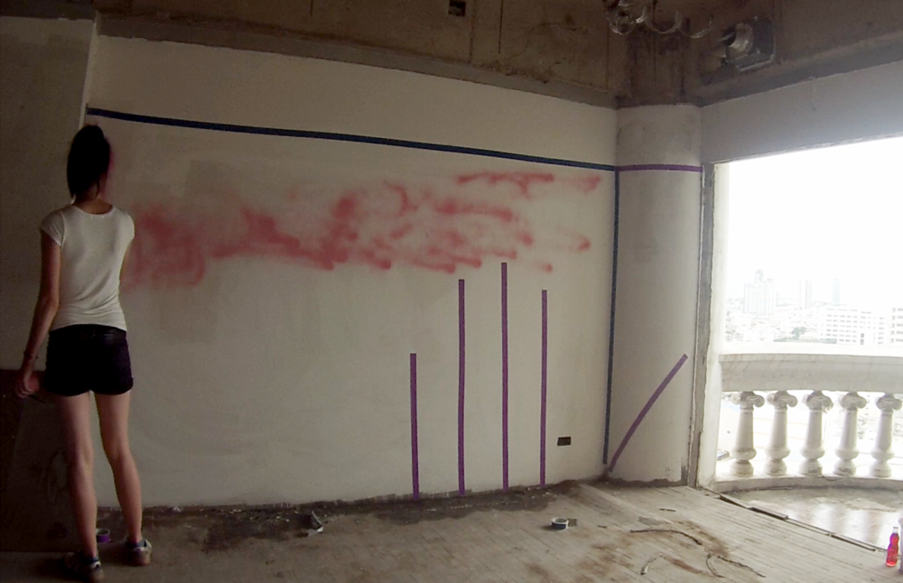Spray Paint, Paper, & Strawberry Fanta; used in Buddhist practice to represent blood.