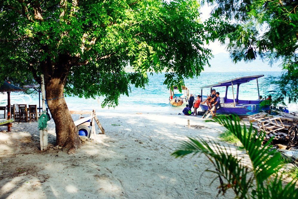 view from the cafe gili T island travel photograph