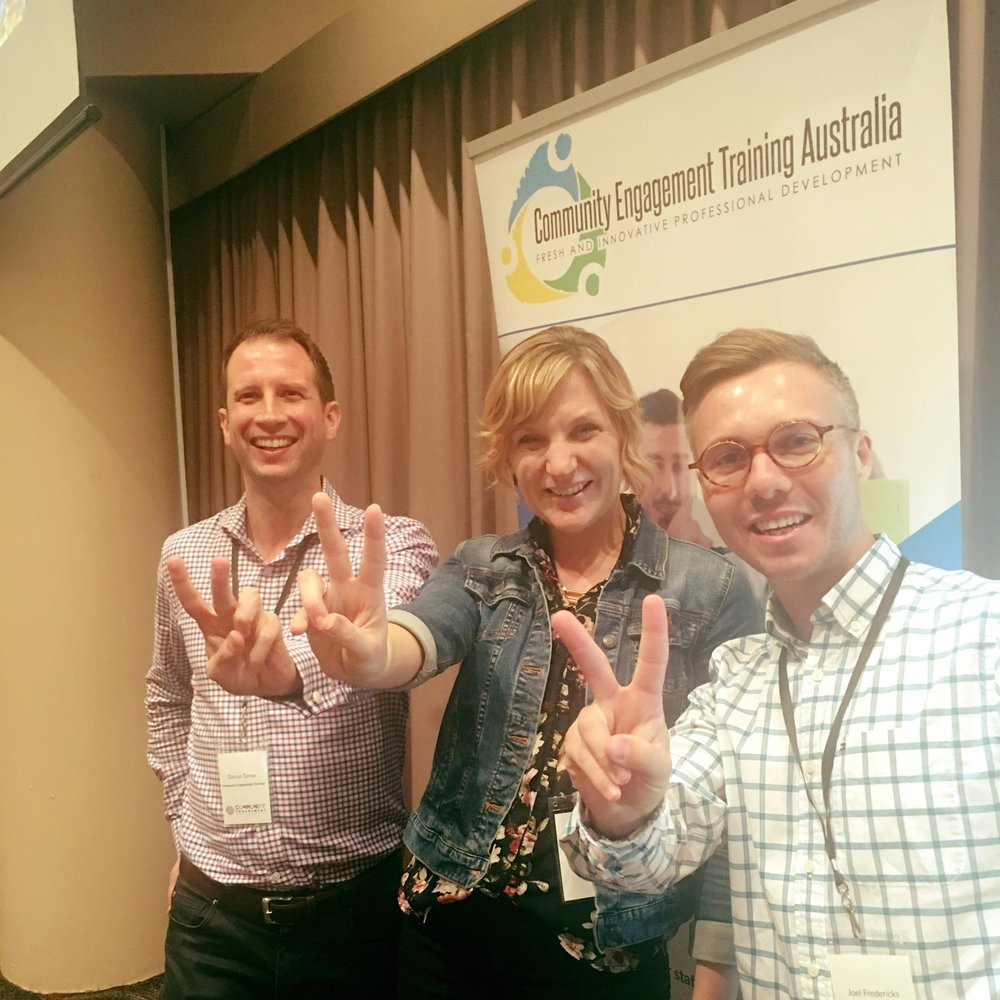 Engage 2 Act President, Becky Hirst in Perth with Darius Turner and Joel Fredericks as a keynote speaker at the Community Engagement Summit