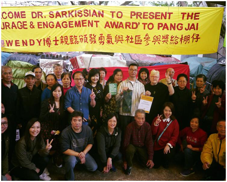 Wendy Sarkissian visits Pang Jai Fabric Market in Hong Kong to present the inaugral Wendy Sarkissian Award for Courage in the field of Community Engagement