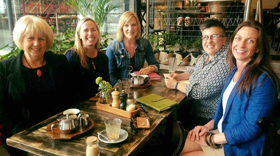President, Becky Hirst meets with Kirsty O'Connoll and Sara Bice from the University of Melbourne's Next Generation Project, along with IAP2 International President Kylie Cochrane and Anne Howard, CEO of the Public Relations Institute of Australia.