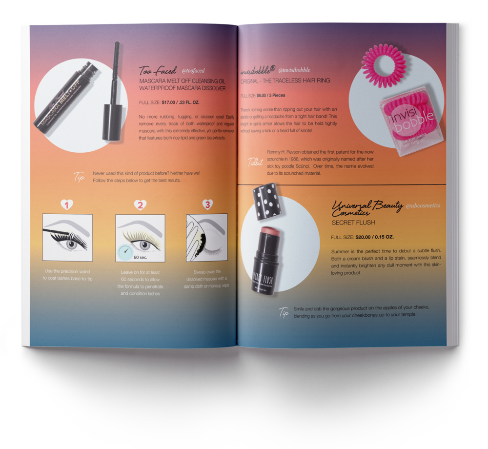 The  product card  of this month was on a  magazine format  containing all product descriptions of everything in the box + editorial content of everything you need to know about makeup aplication during the hottest month of the year.