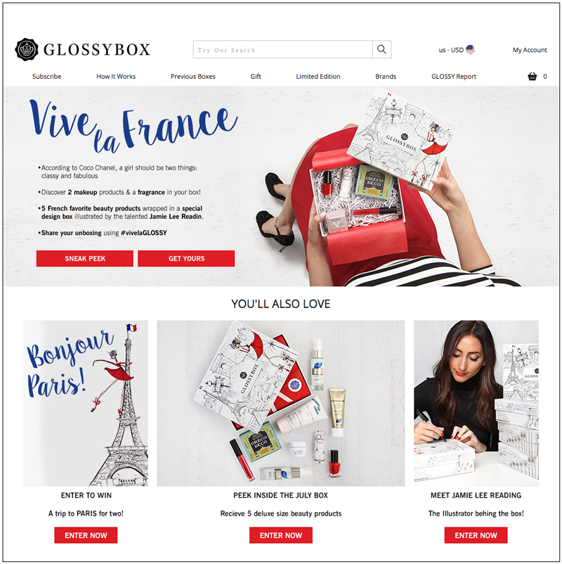 Website homepage presence  takeover. Included a peek inside the box landing page, Enter to Win  a trip to Paris contest and a landing page introducing the illustrator behind the box with a ruffle entry to win a box sign by her.