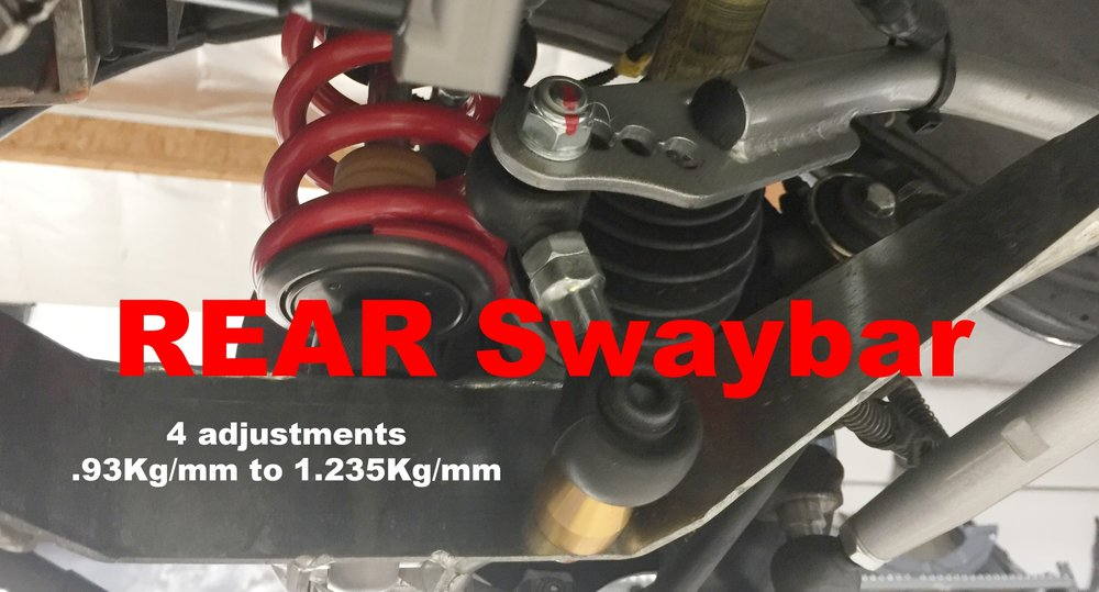 Rear swaybar with 4 adjustments. Requires drilling one hole into the lower wishbone as shown above.