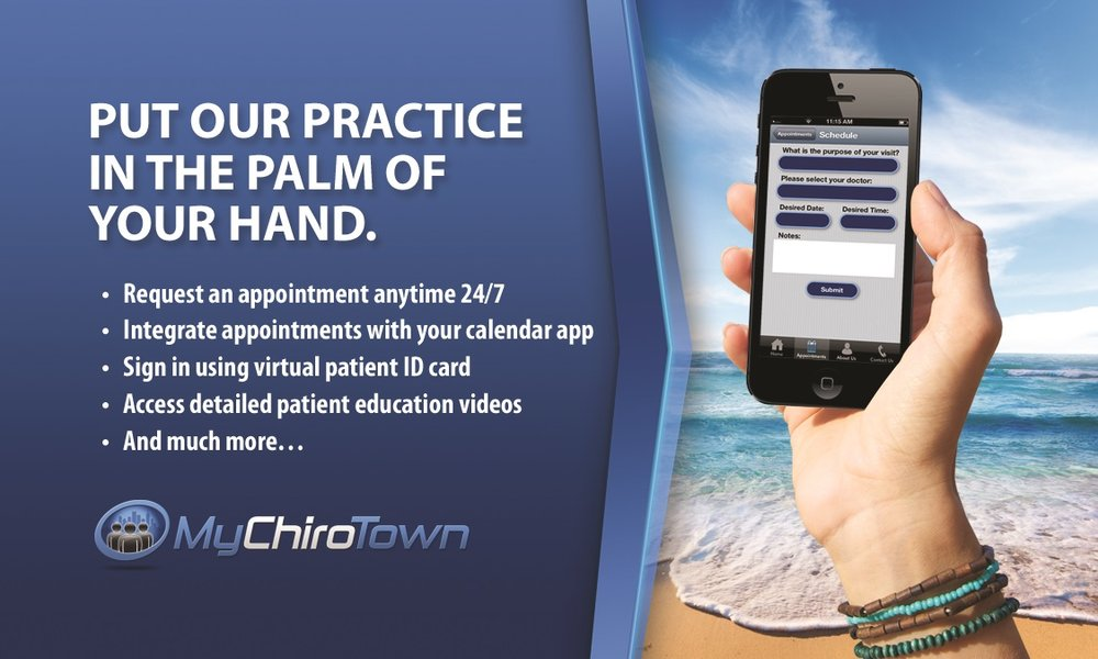 The   MyChiroTown App is in you iPhone or Android store.                               Our office ID is LCC0016