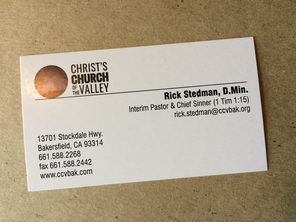 an unusual business card interim pastor and chief sinner rick stedman - Pastor Business Cards