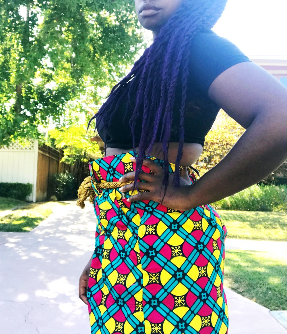 Side profile shot of ankara wide leg pants