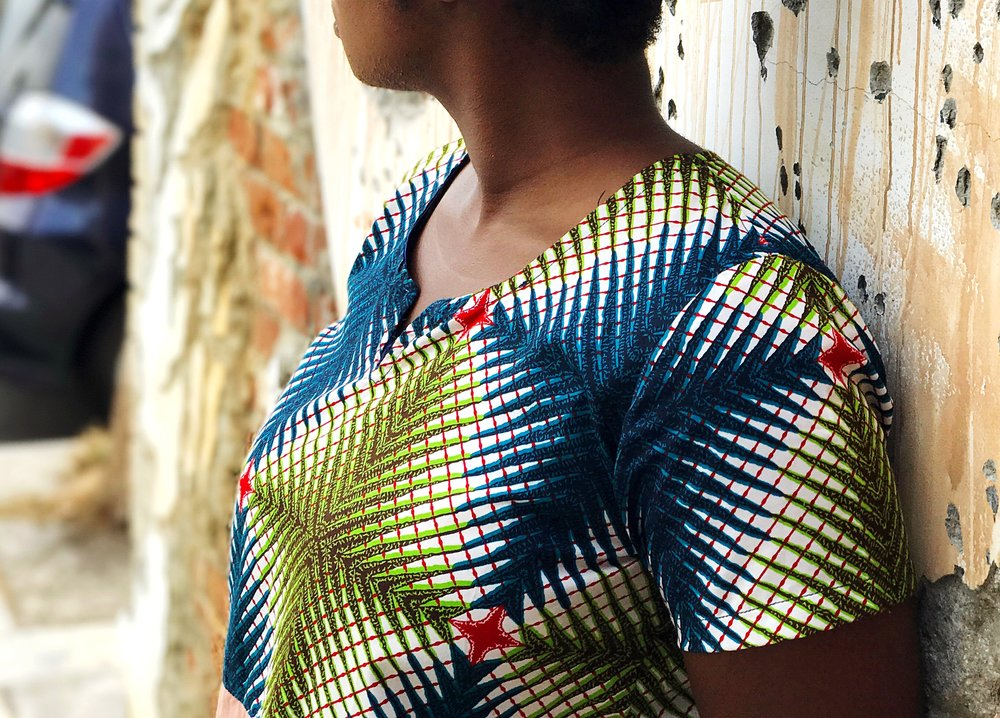 Closeup of ankara print fabric on Femi