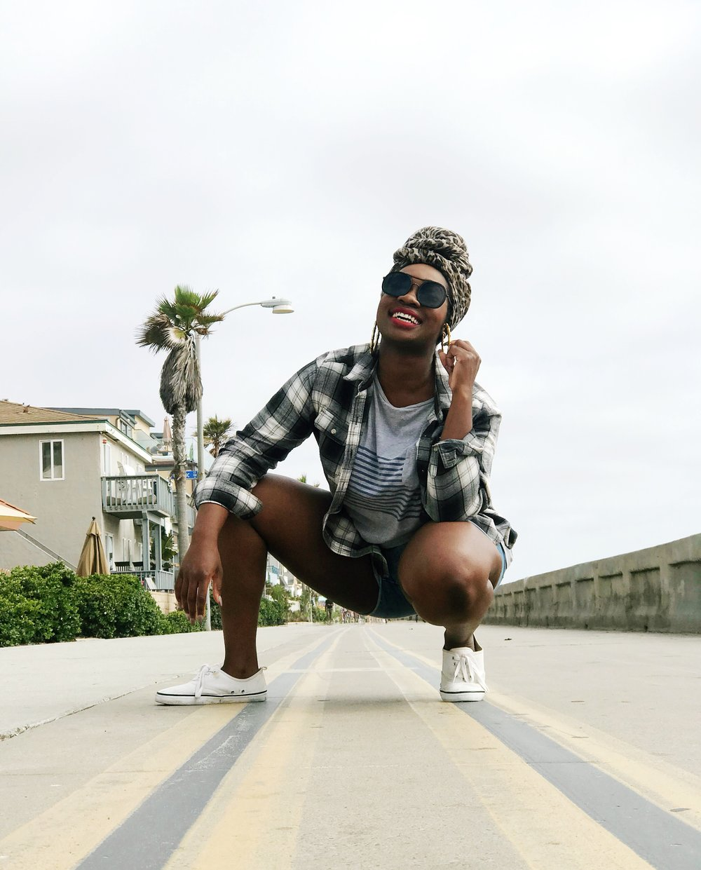 Image: Femi wearing summer clothes in Mission Beach San Diego