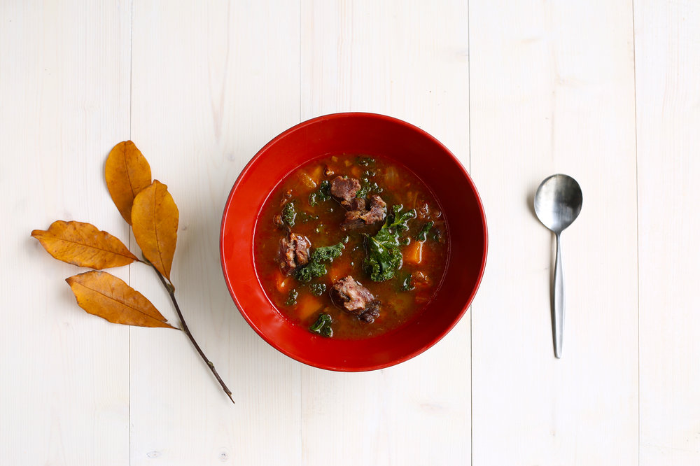 Beef bone broth with autumn vegetables