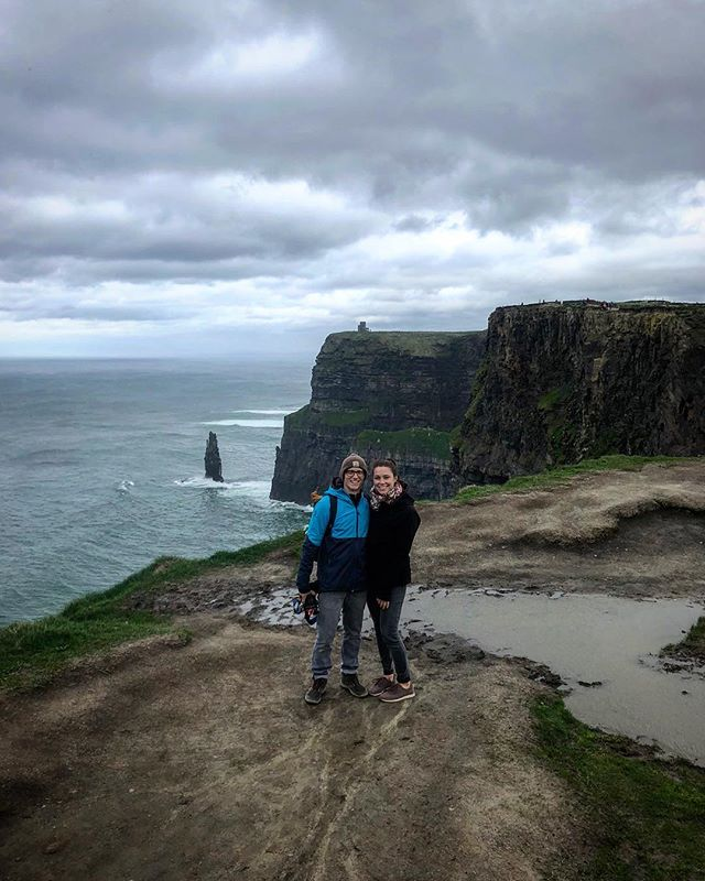 Had the best trip with this lil gem right here @klenz 💚 I love you goof, wouldn't see the world with anyone else #partnerincrime . . . . . . #cliffsofmoher #cliffs #ireland #éire #countyclare #moher #sofriggenwindy #therealireland #travel #backpacking #eurotrippin #dontgetblownover #seriouslythough #itwaspossible