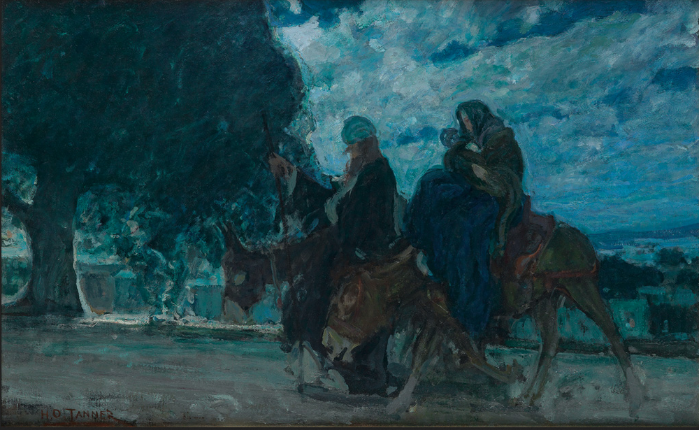 Henry Ossawa Tanner (1859-1937) Flight into Egypt oil on linen canvas, circa 1920-25 23 1/4 x 37 inches, 590 x 952 mm Signed in oil, lower left. Swann Auction Galleries Sale 2456 Lot 4