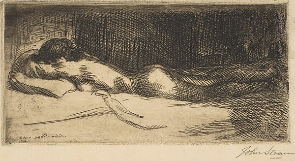 "John Sloan (1871–1951),  Prone Nude , etching, 1913, 3 1/4"" × 6 7/16"" (plate), Gift of Mrs. Harry Payne Whitney, 1926, Metropolitan Museum of Art"