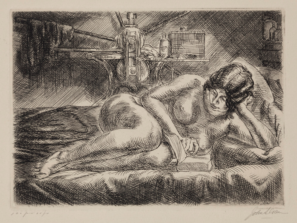 "John Sloan (1871-1951),  Nude Reading , 1928, etching, 5"" x 7"" (plate), Gift of Bernard F. Walker, Detroit Institute of Art"