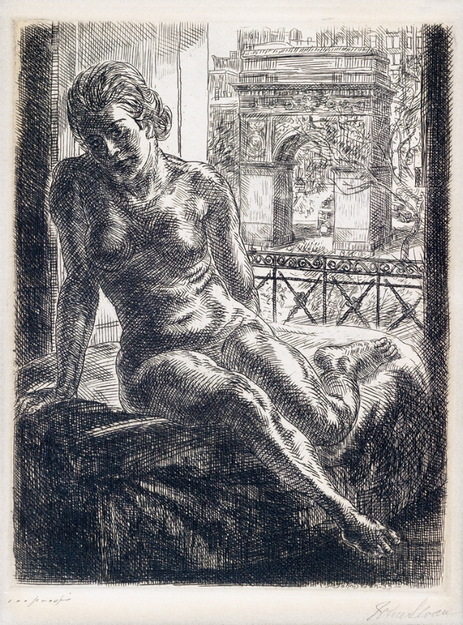 "John Sloan (1871-1951),  Nude and Arch , etching and engraving, 1933, 7"" x 5"", on offer at Swann Auction Galleries March 13, 2018 19th Century Prints and Drawings Auction (Est. $1,500-$2,500)  This work was Unsold."