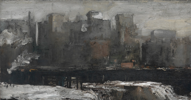 Detail of the Manhattan Skyline in Bellows'  Excavation