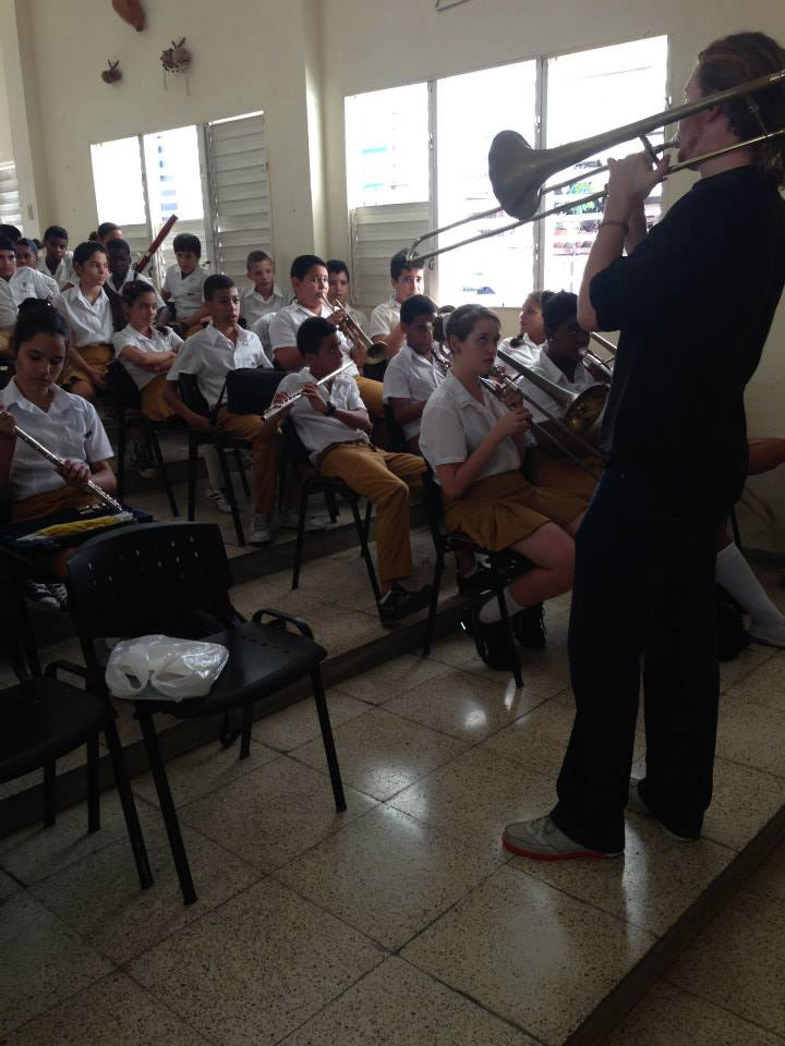 Jazz clinic at Escuela de Arte Paulita Concepion Havana Cuba