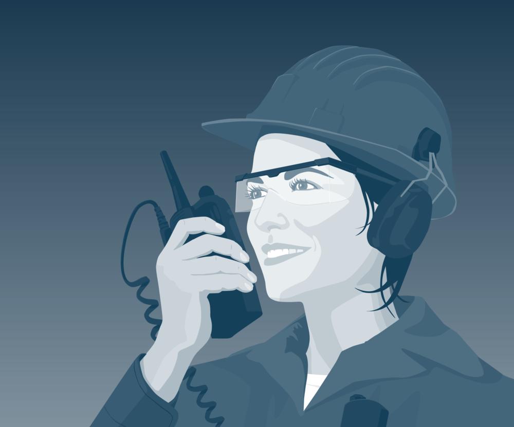 Dame-med-walkietalkie.png