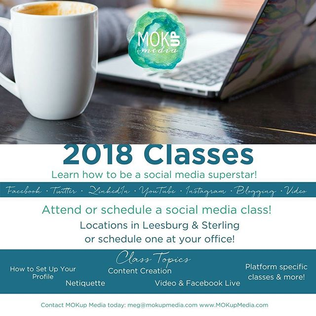 Classes are coming!  Are you interested in a 90-minute crash course on social media, video, or content planning? I'll be offering separate classes on that, and more in 2018! • • • • • #classes #2018 #passion #purpose #pride #success #creativity #hustle #motivation #LoudounCounty  #productive #reward #riseandgrind #bossmom #entrepreneur #life #strong #positive #motivation #socialmedia #expert #social #priority #business #determination #drive #risk #digitalmarketing #marketing #opportunity