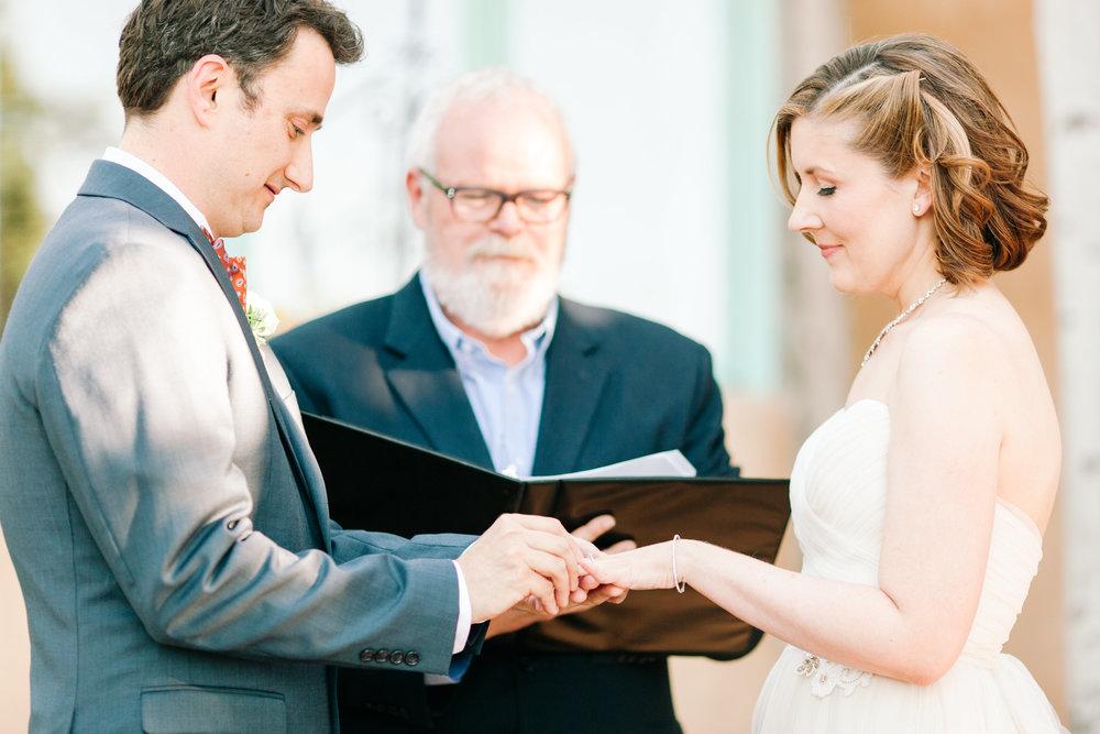 Exchanging rings at our Santa Fe wedding (photo by Joni Bilderback)