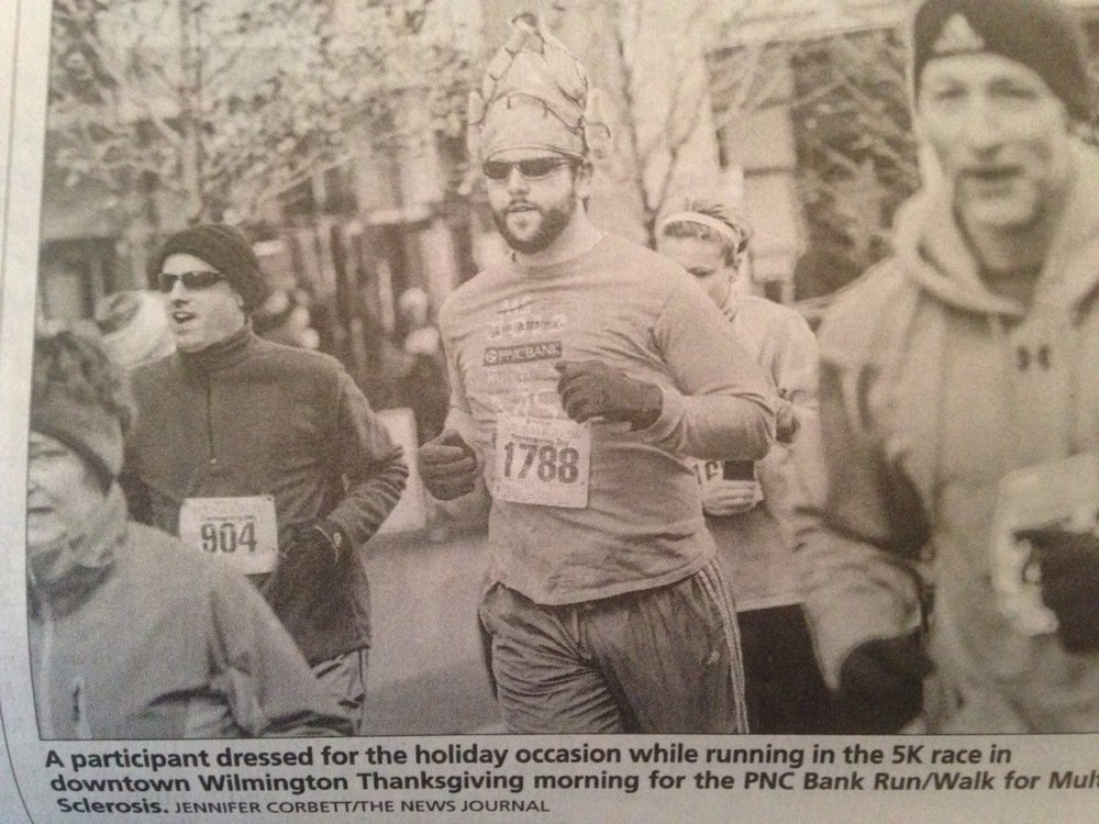 That's Scott on the left; I'm behind the man in the turkey hat (photo by the News Journal)