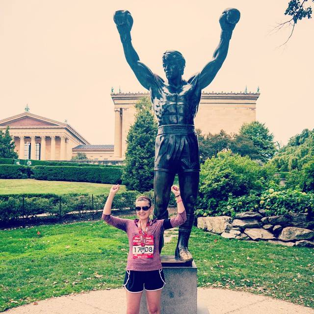 Rocky and me, after the Philadelphia Rock 'n' Roll Half Marathon
