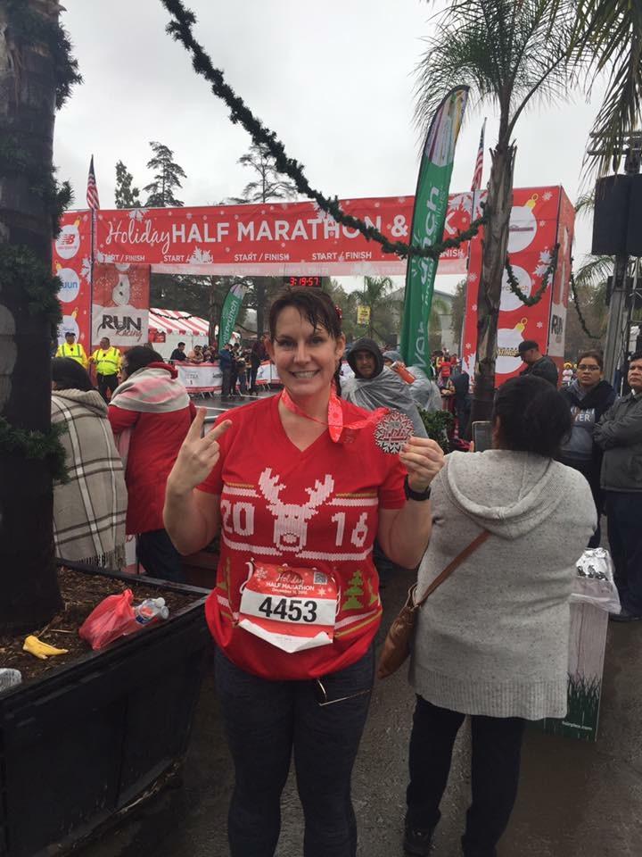 Kelly after her first half marathon in December 2016