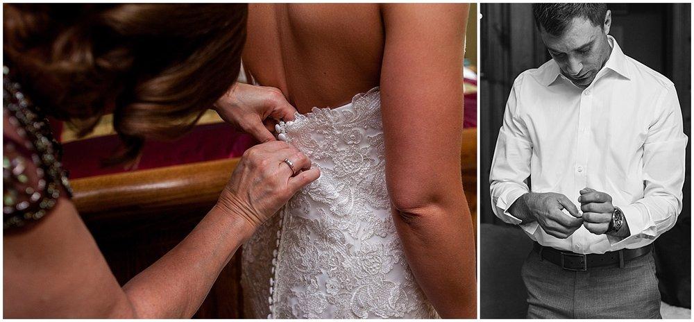 mom helping bride get ready for wedding