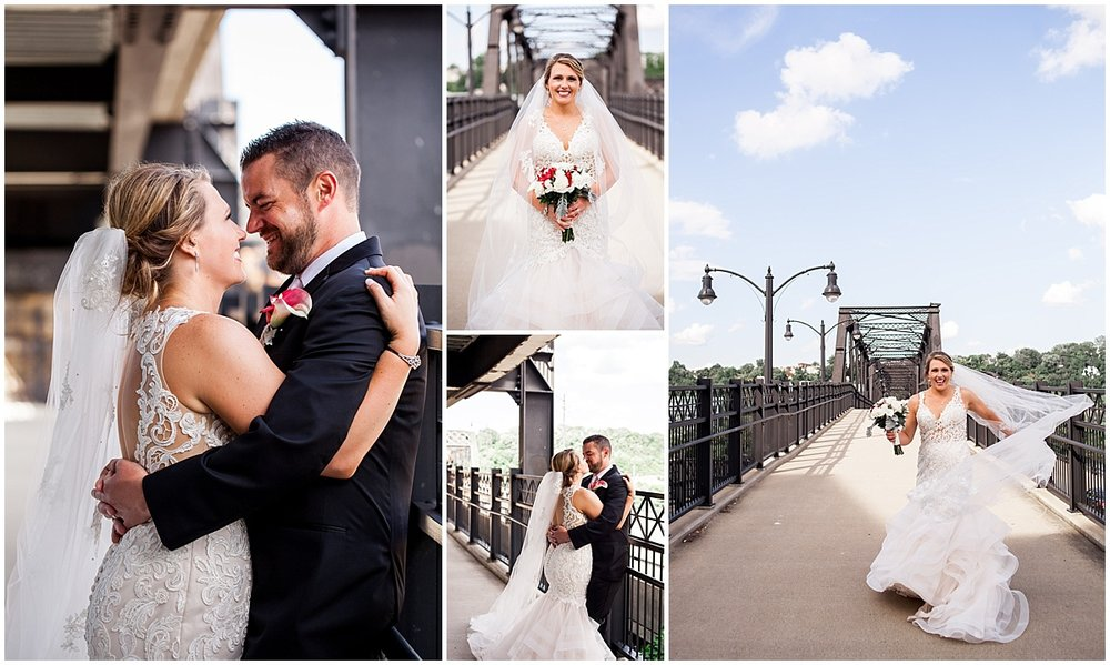 bride and groom portraits hot metal bridge