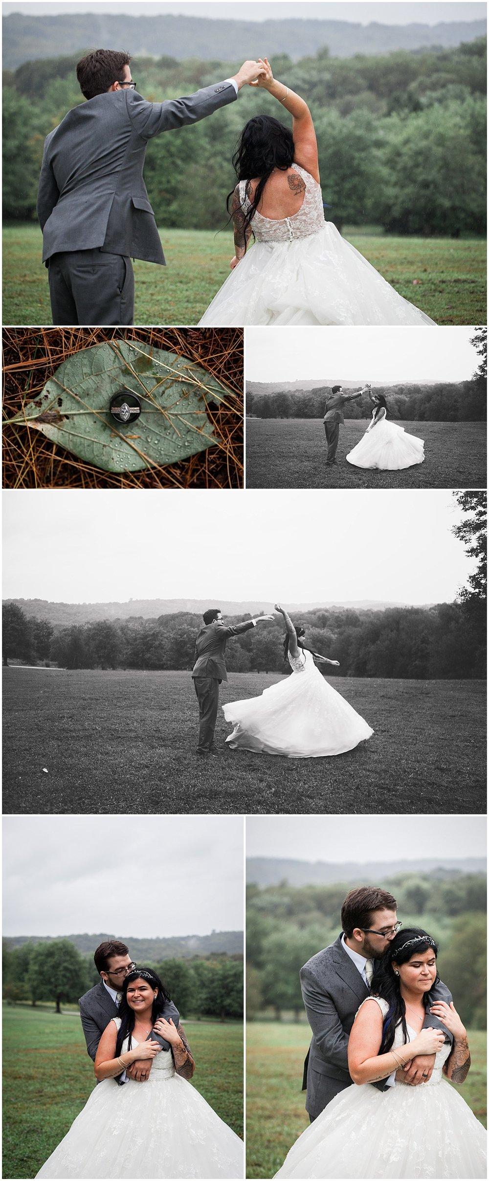 rainy bride and groom wedding portrait photographer