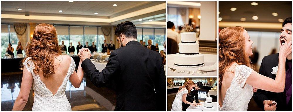 wedding reception cake cutting the club at shadow lakes