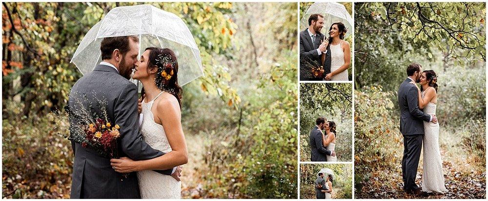 rainy bride and groom vegan wedding in sewickley pa