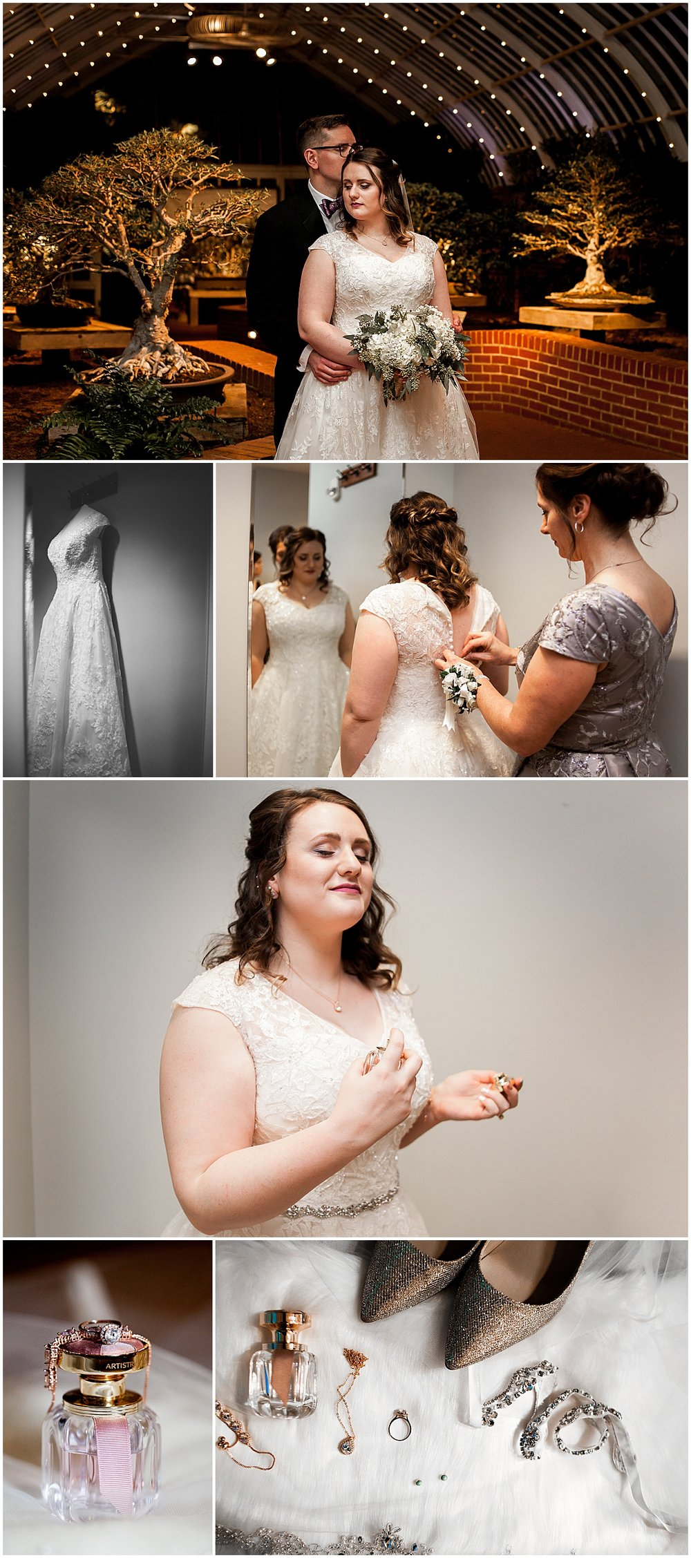 bride getting ready at phipps conservatory
