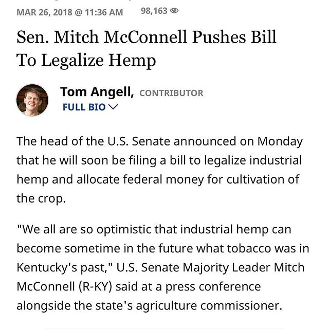 Senator Mitch McConnell has always and will always support the legalization of hemp!  #houston #texas #htx #hemp #cbd #cbdoil #wellness #beauty #lowerstress #alleviatepain #natural #localhouston #onlinestore #dripped #topical #vape #additive #houstonhempco #houstonhemp #musclepain #revivesskin #richcbd #highqualitycbd #vapeit #applytopically #eatit #cbdlife #healthylife #healthinessnothighness #ilovehemp