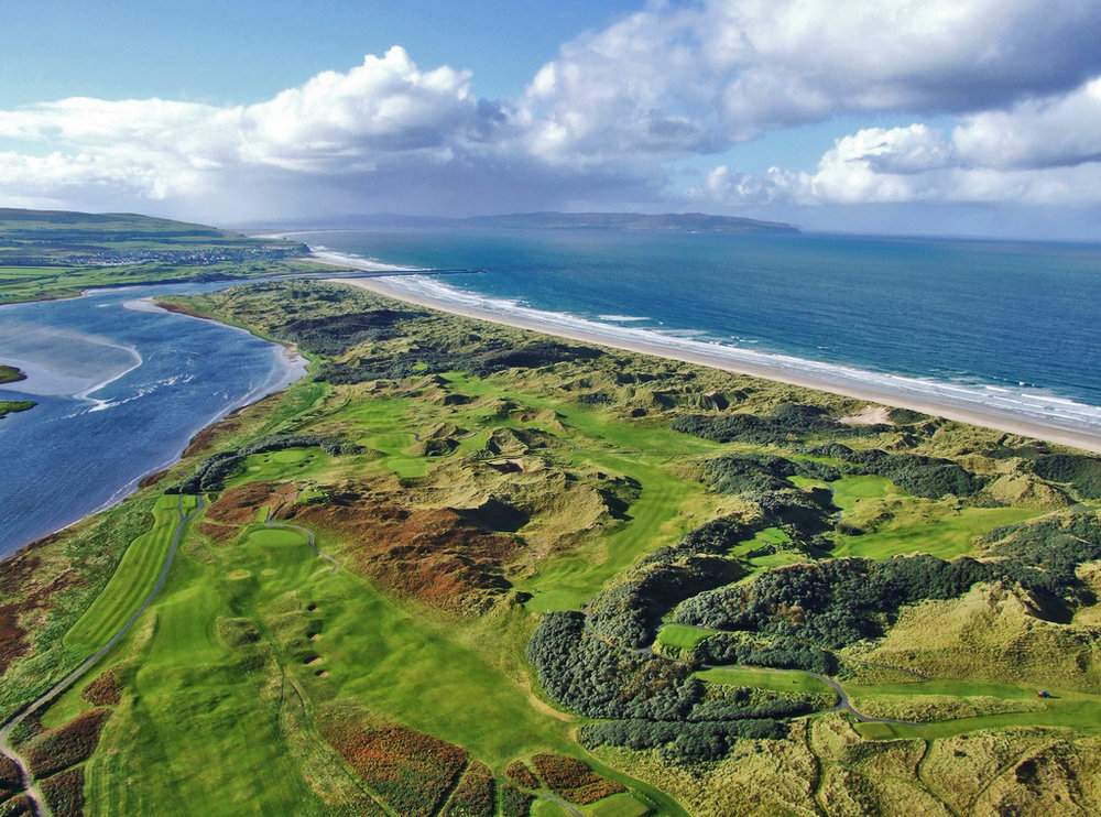 Birdseye view of Portstewart. Northern Ireland is home to some of the world's best links courses.