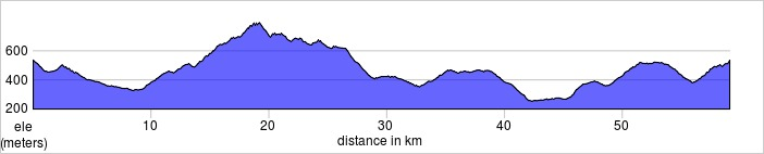 Day four, Radda Loop to Castello Brolio. Shorter and longer rides available.  59.1km, 1248m