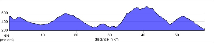 Day five, Radda to Greve in Chianti. Shorter and longer rides available.  58.2km, 1212m