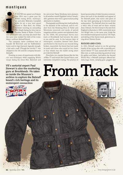 ISSUE 27 - APR/MAY 2016 - BELSTAFF VE's sartorial expert Paul Stewart is also the marketing guru at Brooklands. He takes us inside the Museum's archive to explore the Belstaff brand's rich heritage.